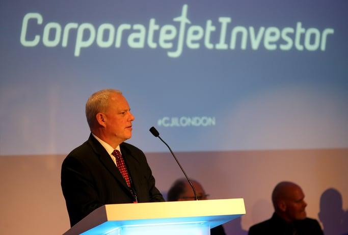 global jet capital's simon davies speaking at corporate jet investor london 2016