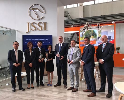 global jet capital team receiving best financing company award from jssi