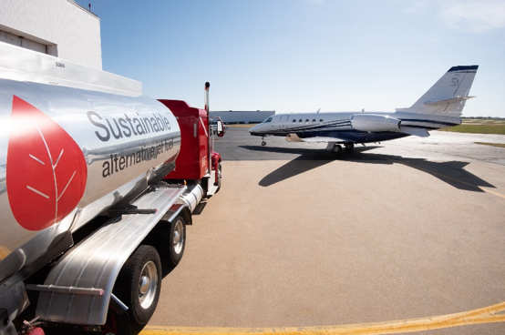 fuel truck filling a cessna citation latitude jet with SAF