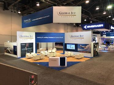 global jet capital indoor booth at nbaa-bace 2019
