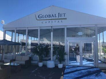 global jet capital static display tent at nbaa-bace 2019