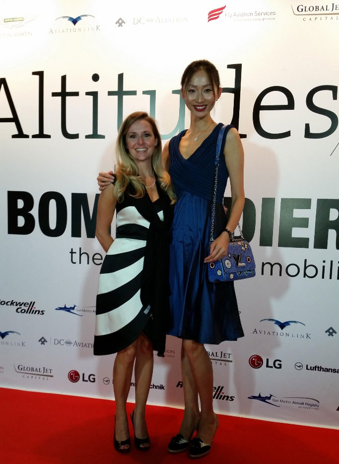 aimee talbert-nardini and leona qi at 2015 dubai airshow